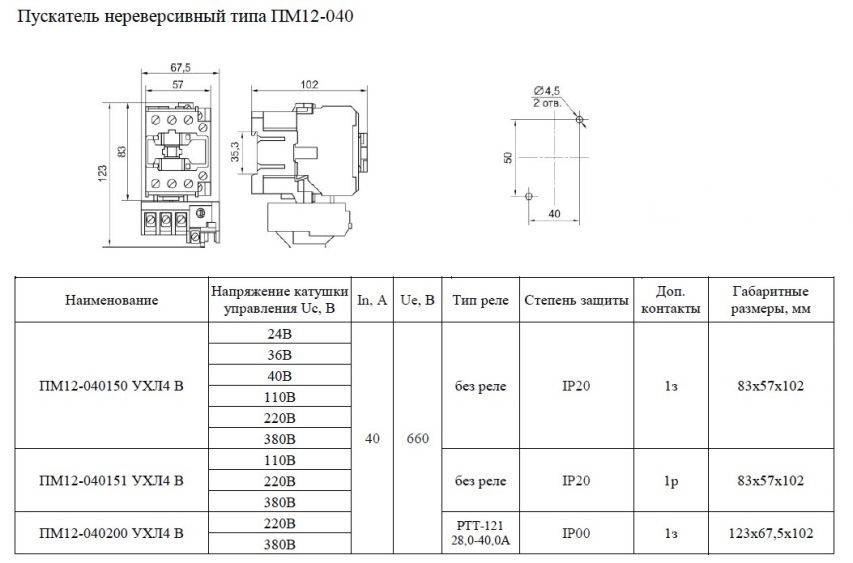 Характеристики и габариты ПМ12-040 нереверсивный