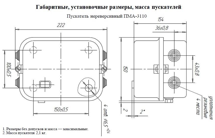 Габариты ПМА 3110