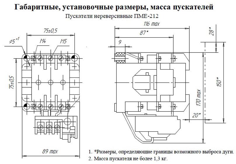 Габариты ПМЕ 212