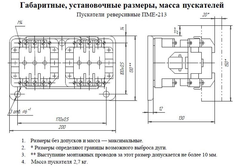 Габариты ПМЕ 213