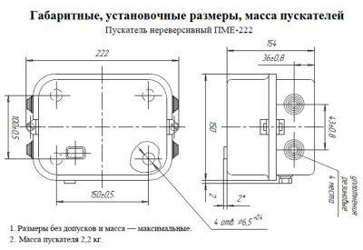 Габариты ПМЕ 222