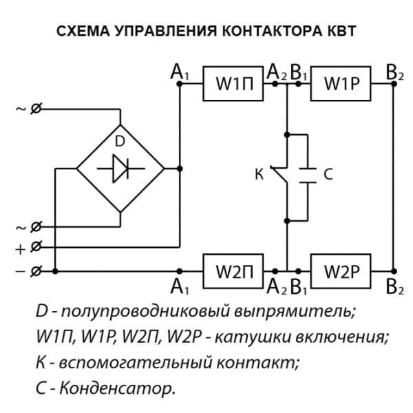 Схема управления контактора КВТ