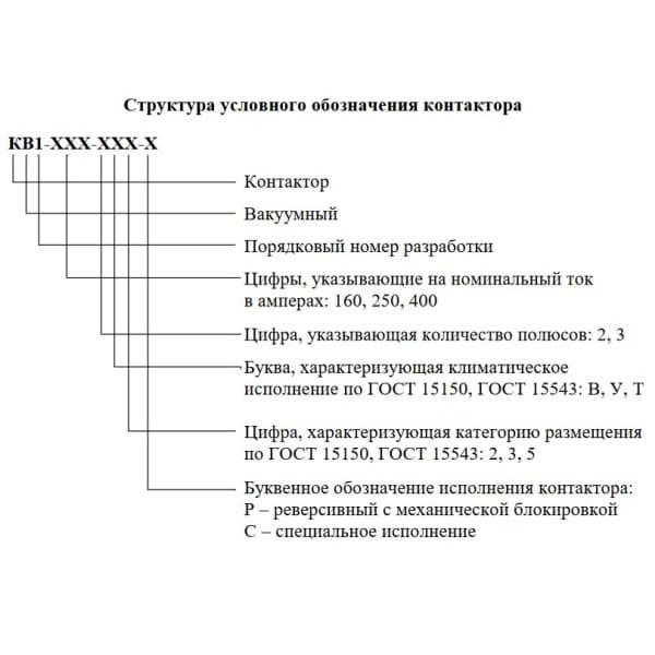 Расшифровка обозначения контактора КВ